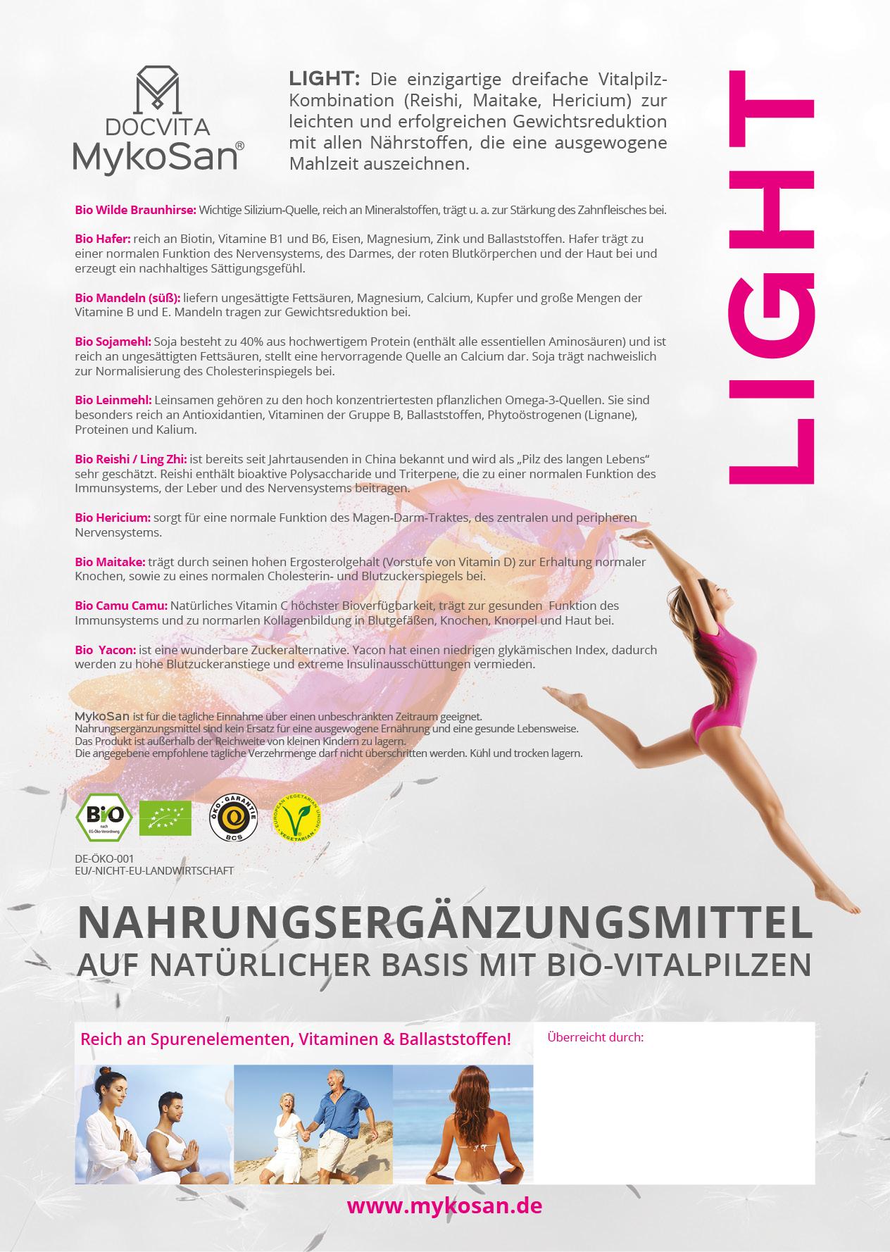 DOCVITA MykoSan Light: Die einzigartige dreifache Vitapilzkombination (Reishi, Maitake, Hericium) zur leichten und erfolgreichen Gewichtsreduktion mit allen Nährstoffen, die eine ausgewogene Mahlzeit auszeichnen.